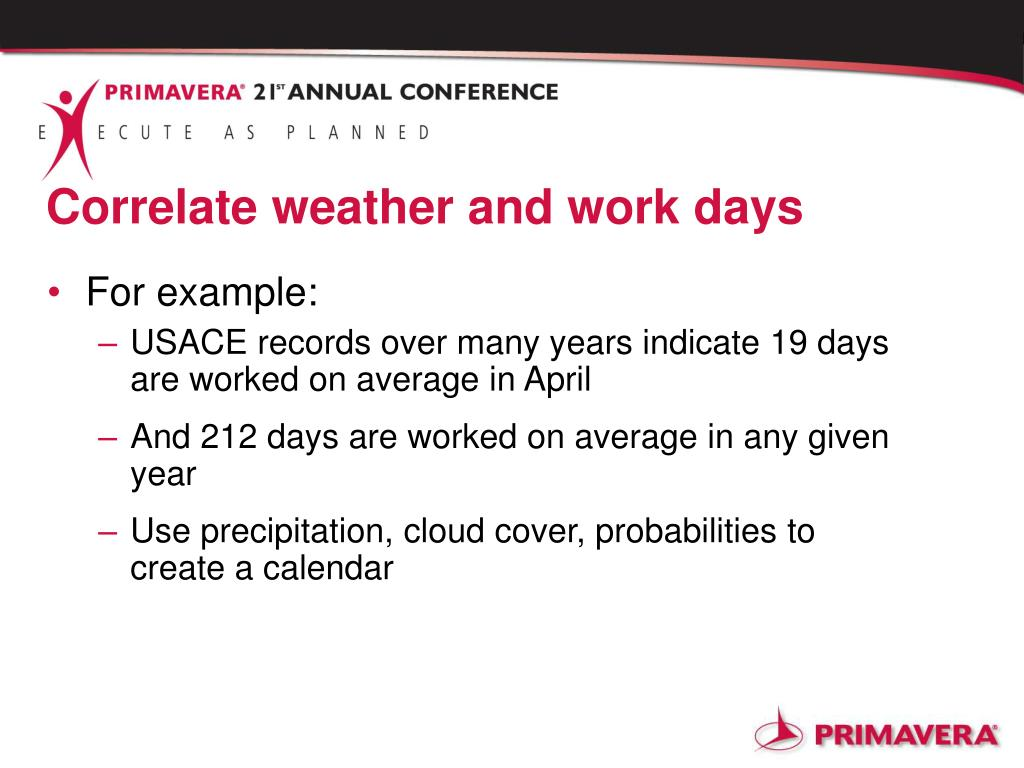 Correlate weather and work days
