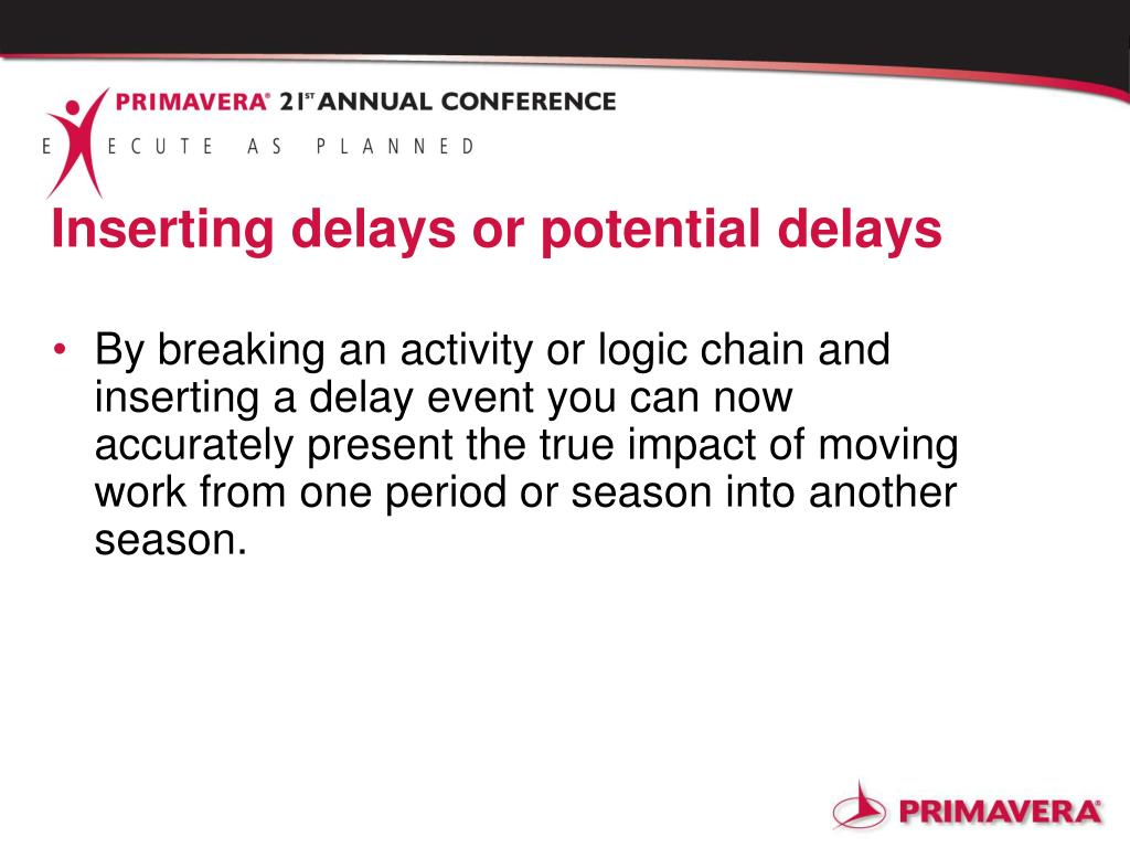 Inserting delays or potential delays