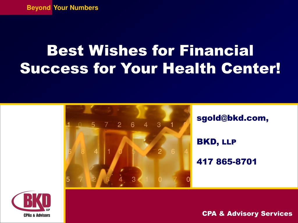 Best Wishes for Financial Success for Your Health Center!