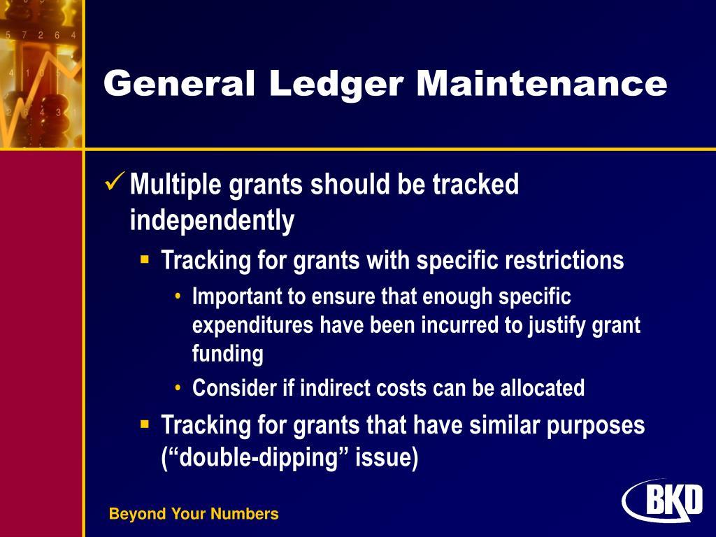 General Ledger Maintenance