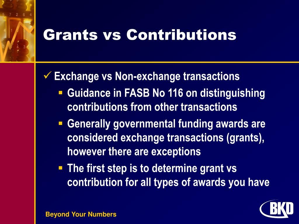 Grants vs Contributions
