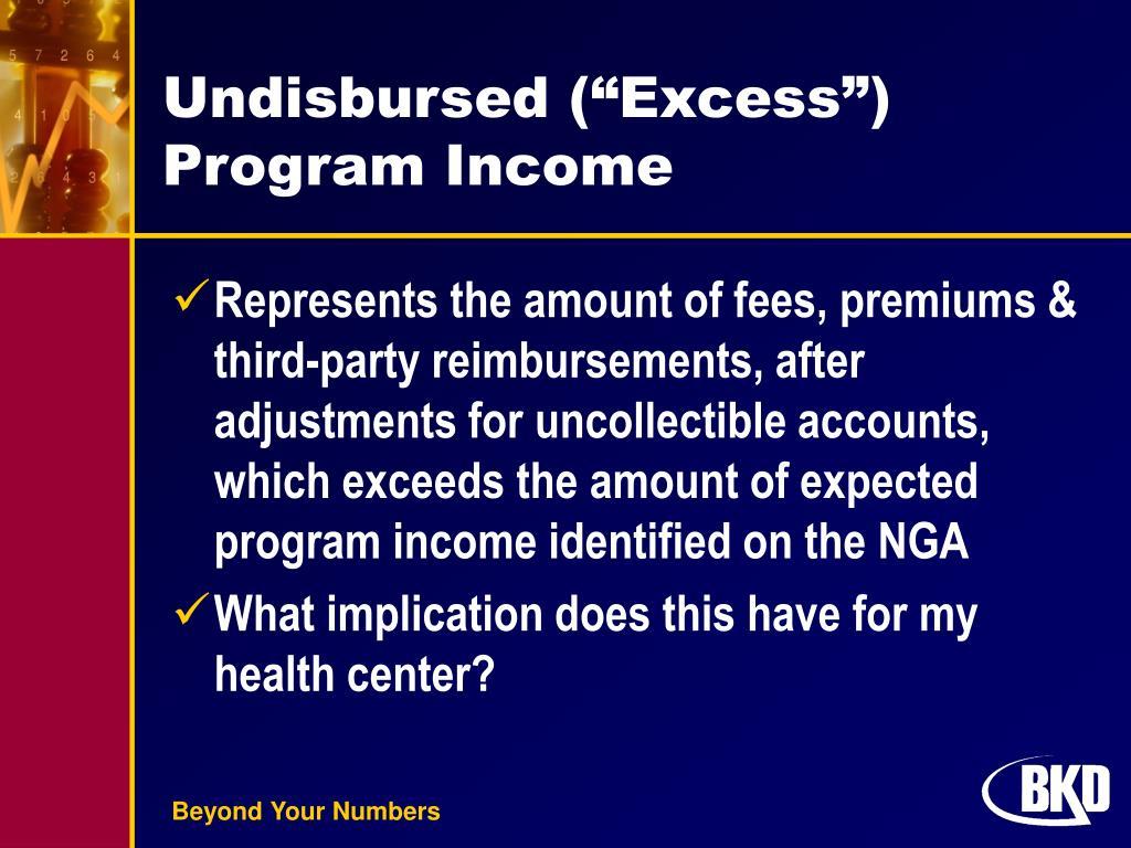 """Undisbursed (""""Excess"""") Program Income"""