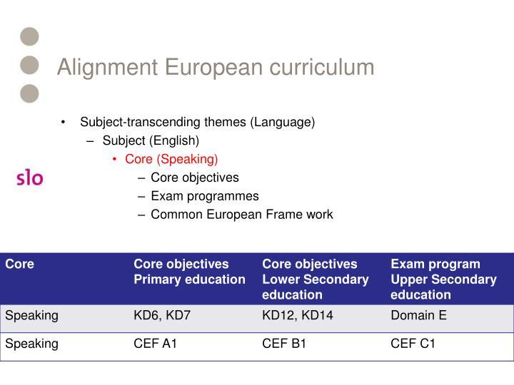 Alignment European curriculum