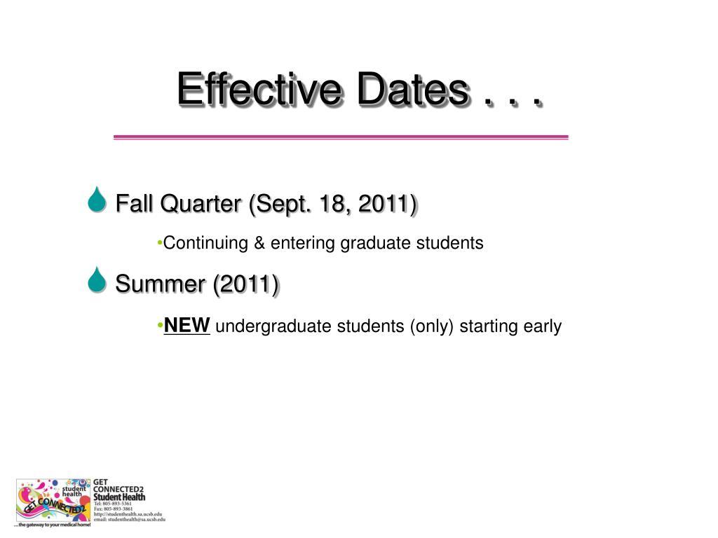 Effective Dates . . .