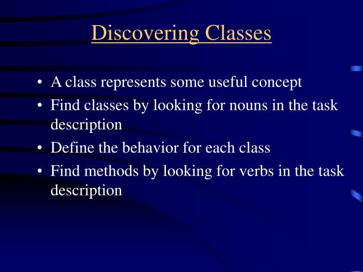 Discovering Classes
