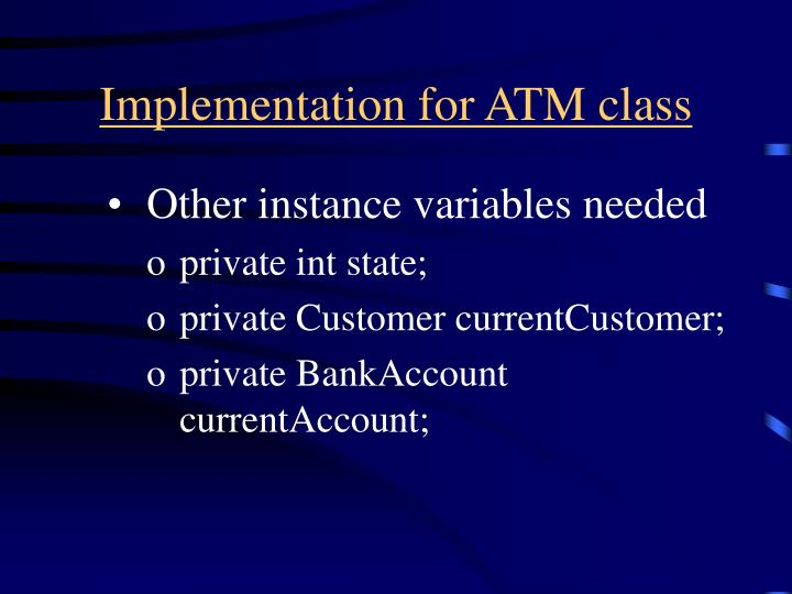 Implementation for ATM class