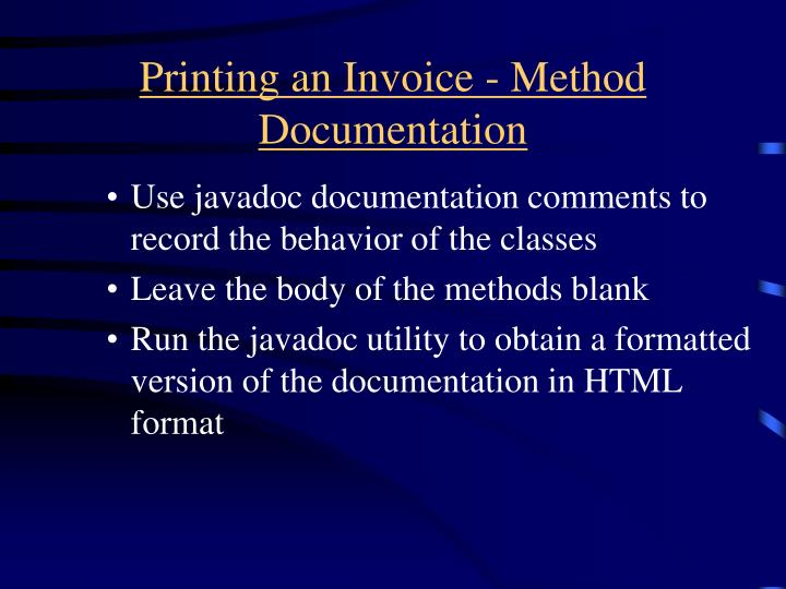 Printing an Invoice - Method Documentation