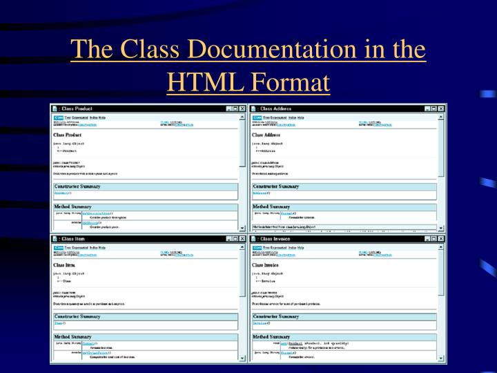 The Class Documentation in the HTML Format