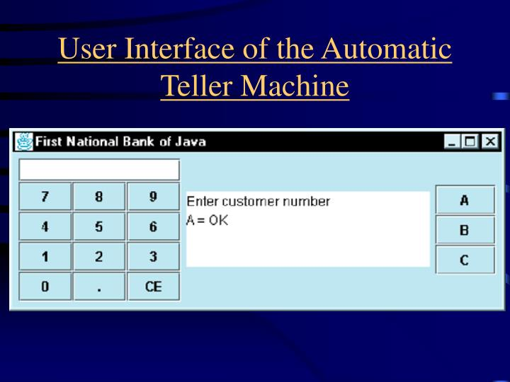 User Interface of the Automatic Teller Machine