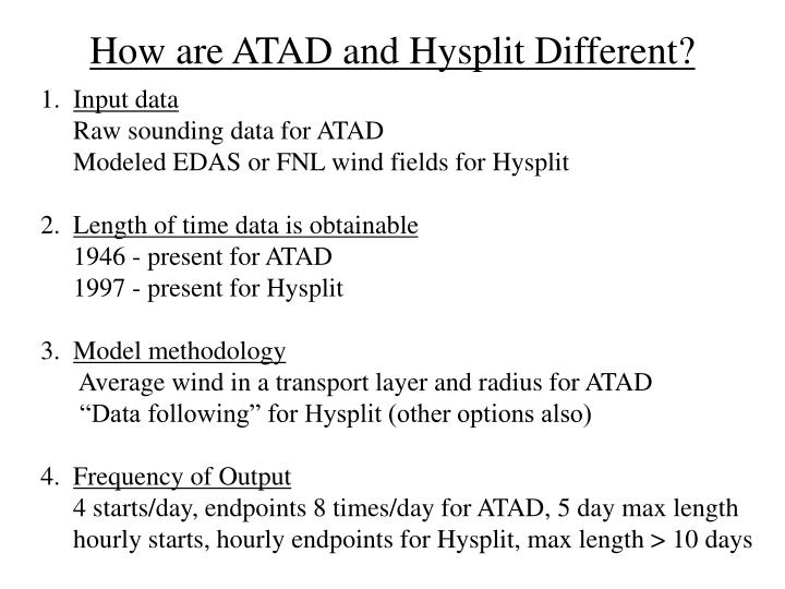 How are atad and hysplit different