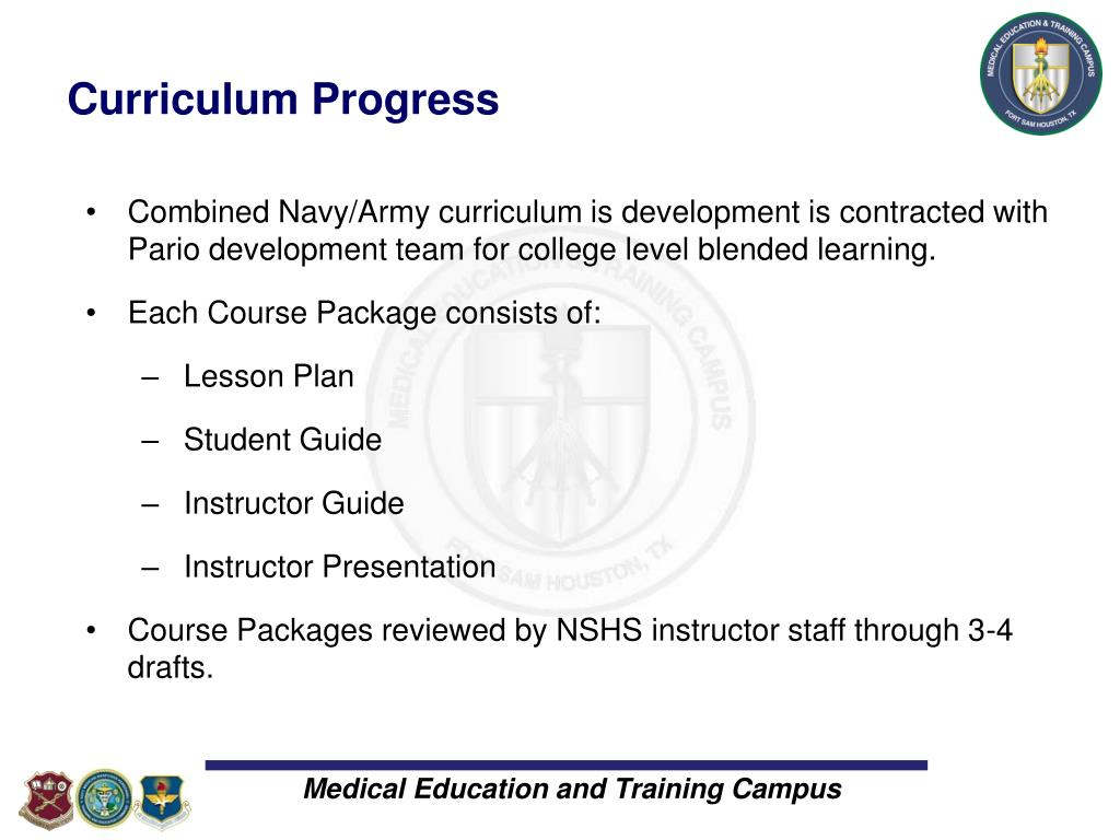 Curriculum Progress