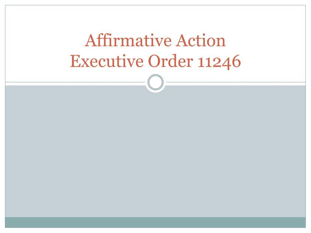 affirmative action executive order 11246 l.