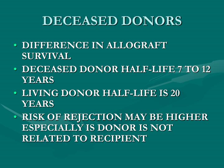 DECEASED DONORS