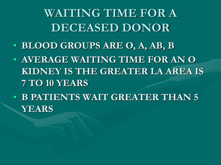 WAITING TIME FOR A DECEASED DONOR