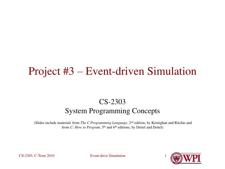 project 3 event driven simulation n.