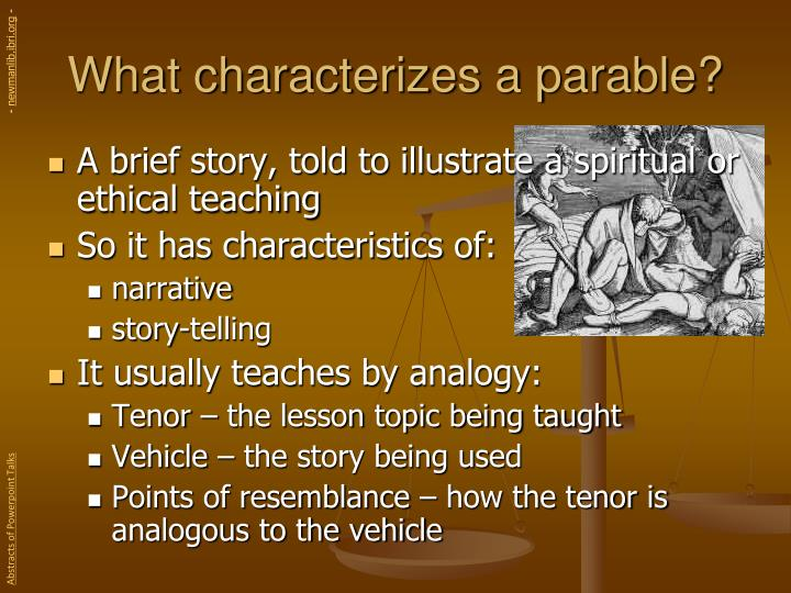 What characterizes a parable?