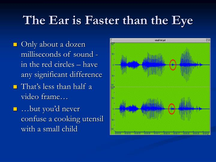 The Ear is Faster than the Eye