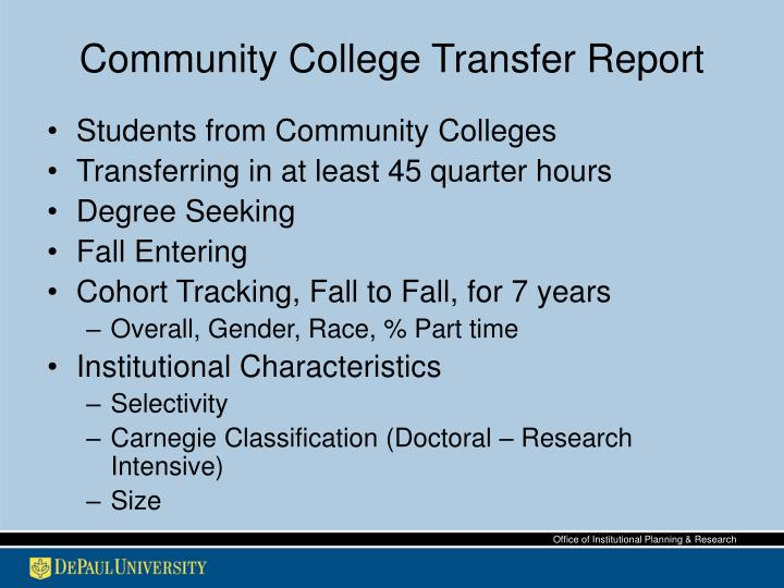 Community College Transfer Report