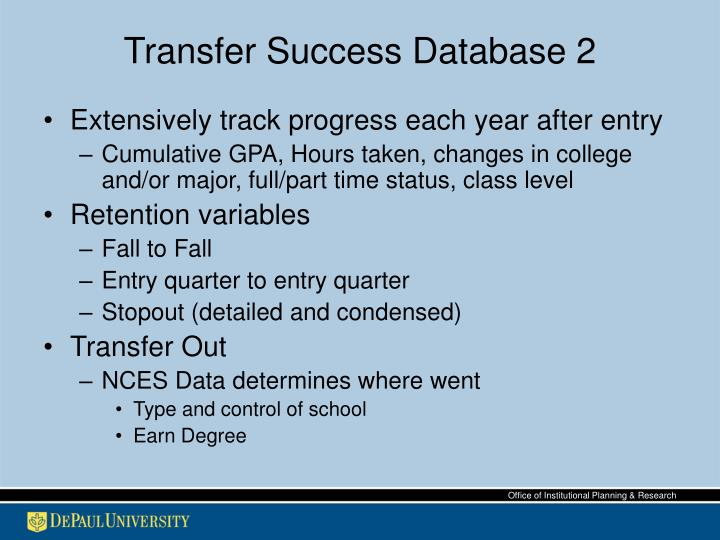 Transfer Success Database 2
