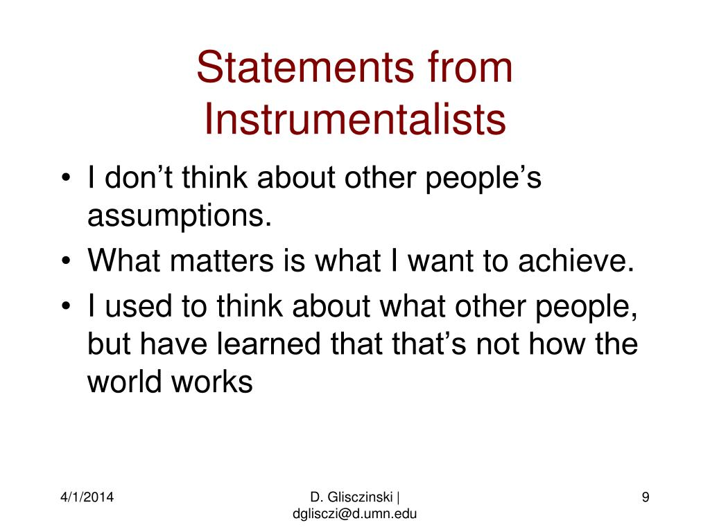 Statements from Instrumentalists