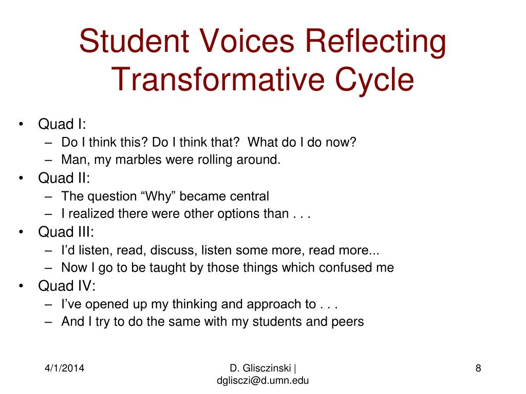 Student Voices Reflecting Transformative Cycle