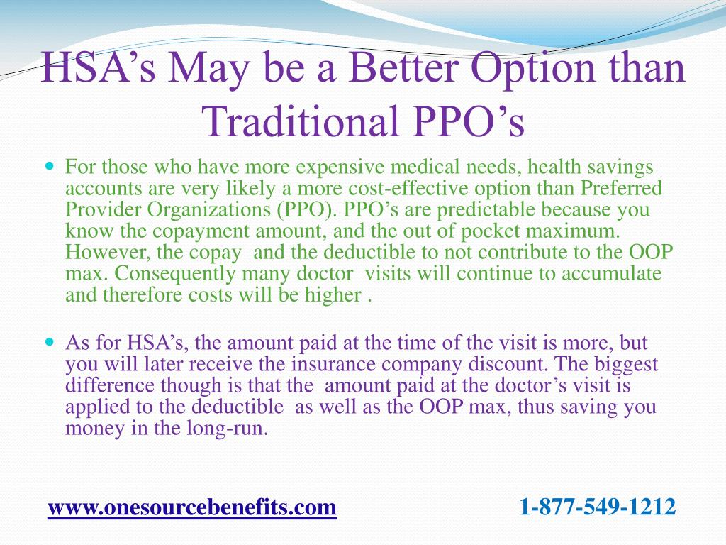 HSA's May be a Better Option than Traditional PPO's