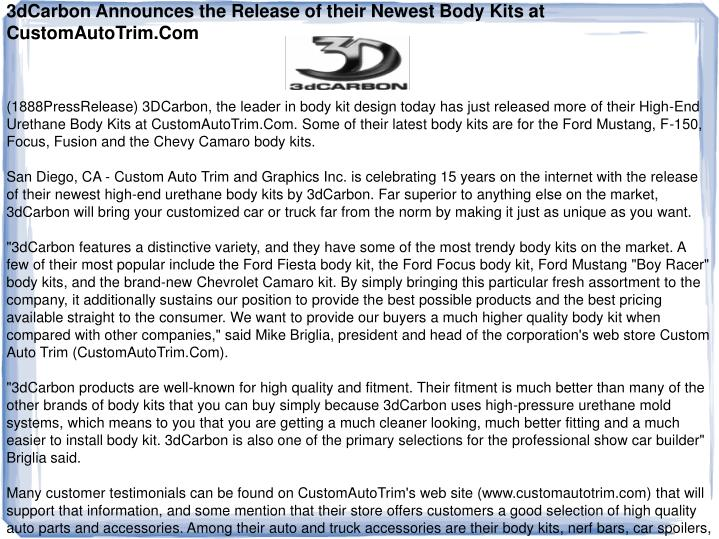 3dCarbon Announces the Release of their Newest Body Kits at CustomAutoTrim.Com