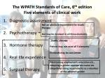the wpath standards of care 6 th edition five elements of clinical work