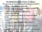the wpath standards of care 6 th edition the ten tasks of the mental health professional mhp