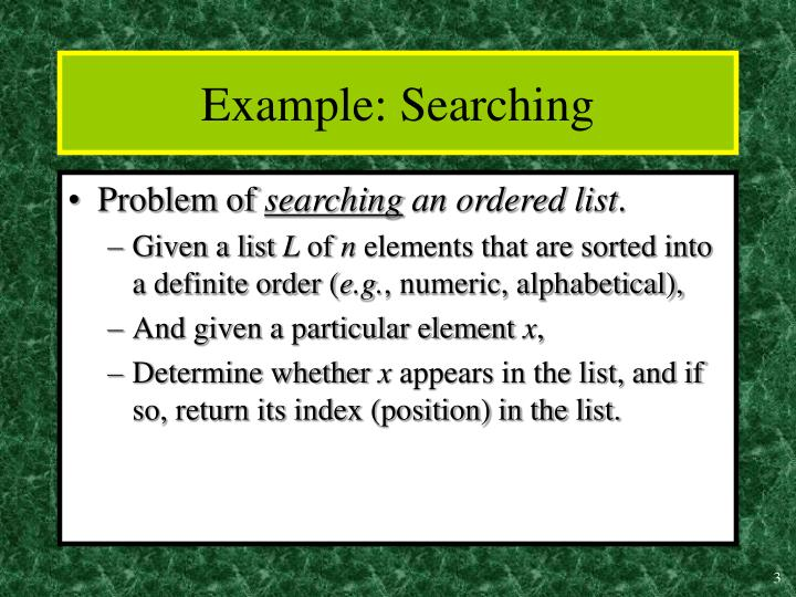 Example searching