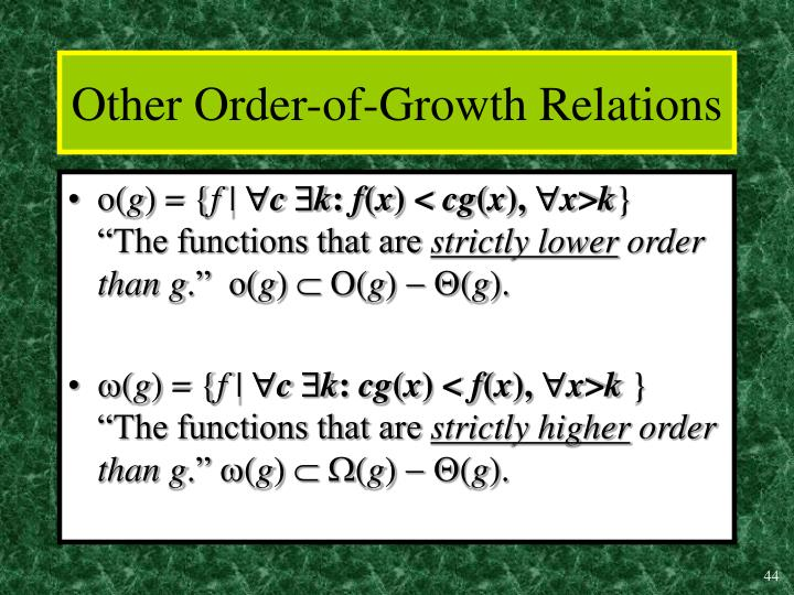 Other Order-of-Growth Relations