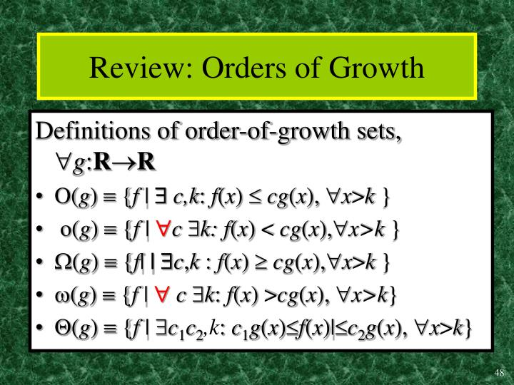 Review: Orders of Growth