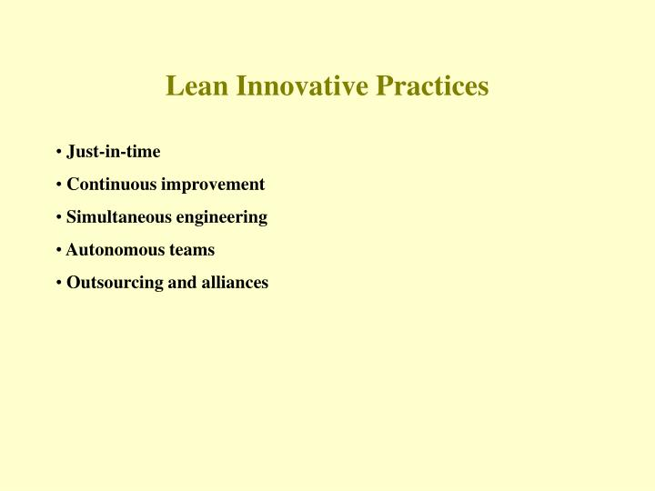 Lean Innovative Practices