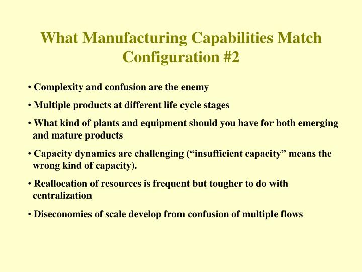 What Manufacturing Capabilities Match Configuration #2
