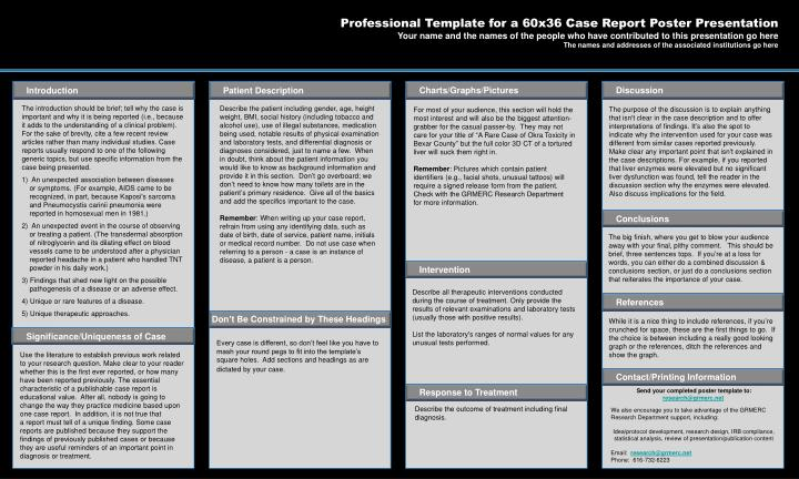 ppt professional template for a 60x36 case report poster