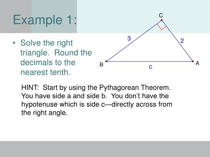 Solve the right triangle.  Round the decimals to the nearest tenth.