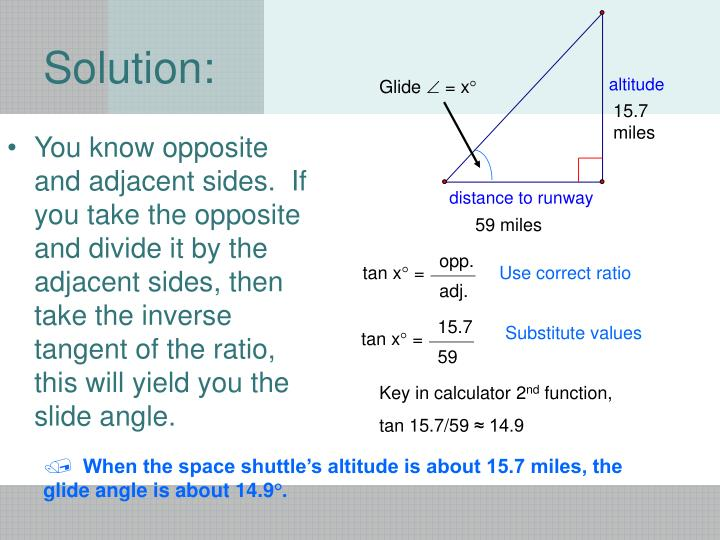 You know opposite and adjacent sides.  If you take the opposite and divide it by the adjacent sides, then take the inverse tangent of the ratio, this will yield you the slide angle.