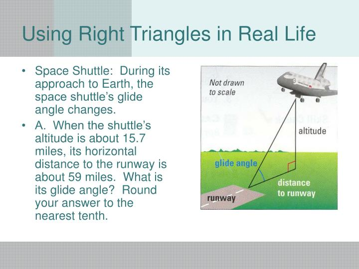 Space Shuttle:  During its approach to Earth, the space shuttle's glide angle changes.