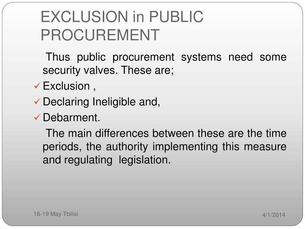 EXCLUSION in PUBLIC PROCUREMENT