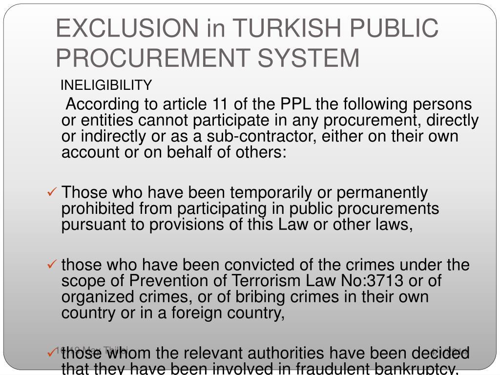 EXCLUSION in TURKISH PUBLIC PROCUREMENT SYSTEM