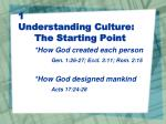 1 understanding culture the starting point