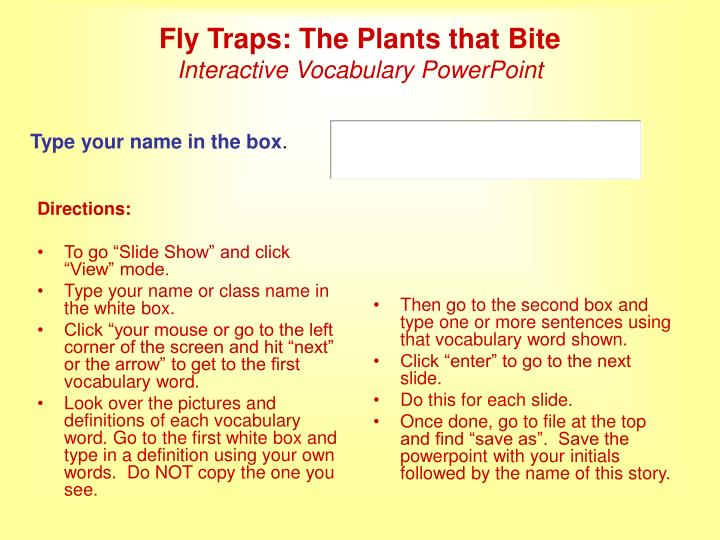 Fly traps the plants that bite interactive vocabulary powerpoint