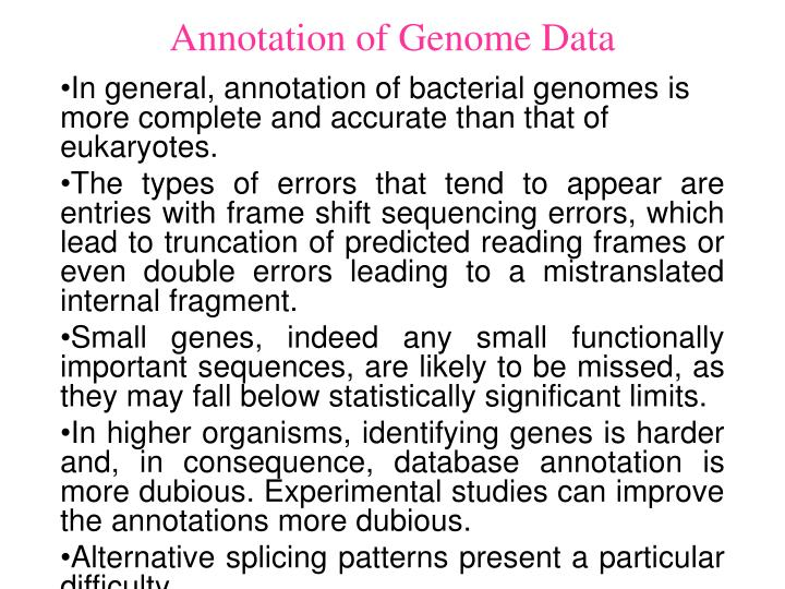 Annotation of Genome Data