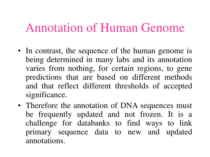 Annotation of Human Genome