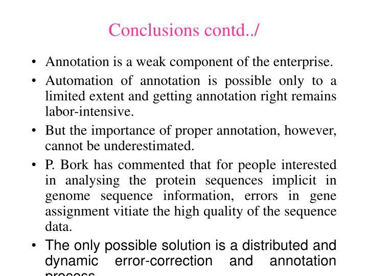 Conclusions contd../