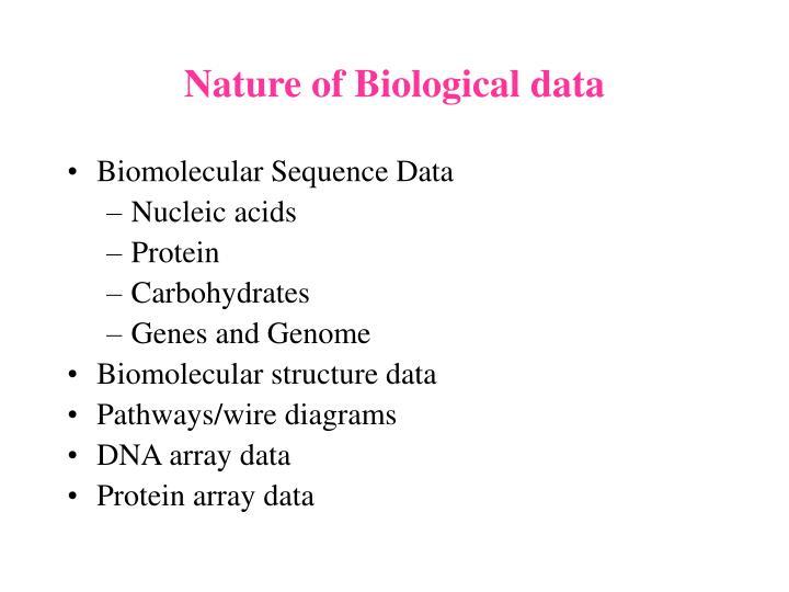 Nature of Biological data