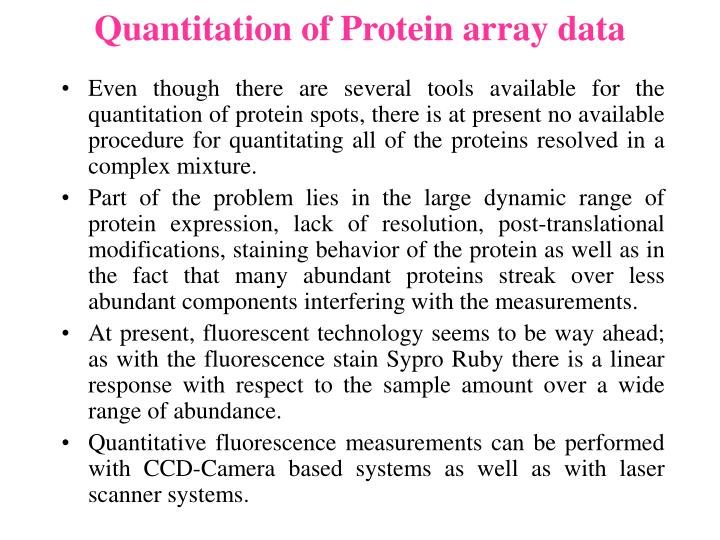 Quantitation of Protein array data