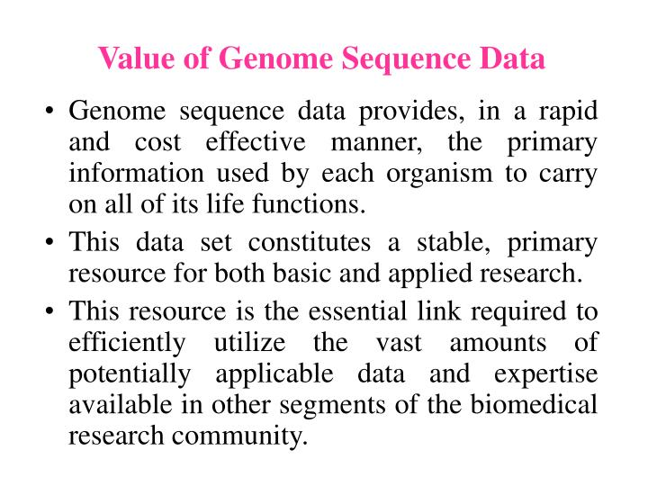 Value of Genome Sequence Data