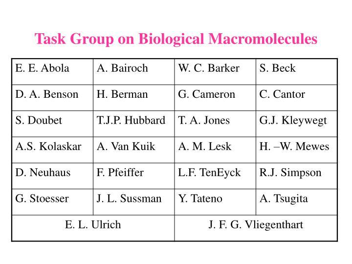 Task Group on Biological Macromolecules