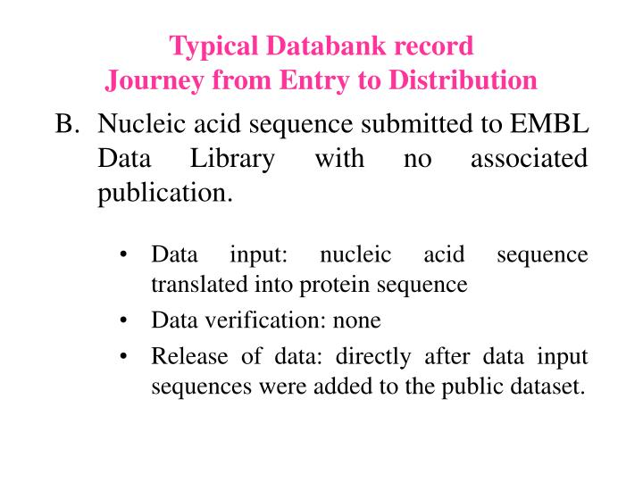 Typical Databank record
